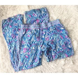 LILLY PULITZER blue+pink wife leg lounge pants